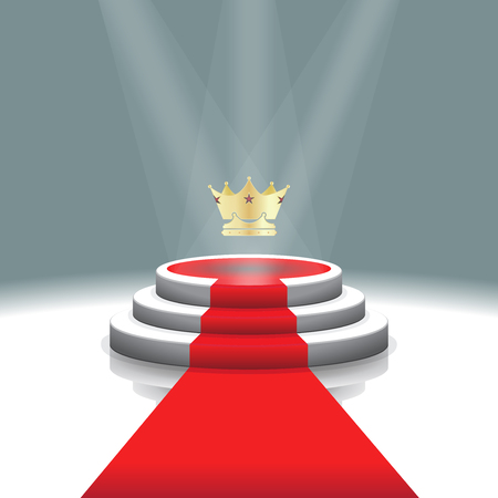 prize winner: Design template: Illuminated stage podium with crown and red carpet for award ceremony,  Vector illustration