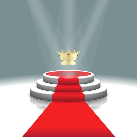 Ontwerp sjabloon: Verlichte podium podium met kroon en rode loper voor de prijsuitreiking, Vector illustratie