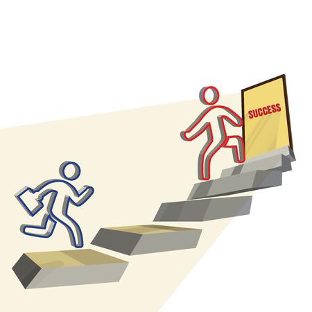 Businessman running to success door in space, teamwork concept, template