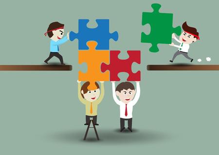 Teamwork, business men assembling pieces of a puzzle, template