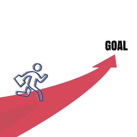Businessman running to Goal door, business concept, template 向量圖像