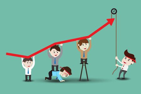 laborious: Teamwork leading to successful business, template Illustration