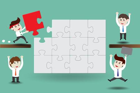 piece: Teamwork, business men assembling pieces of a puzzle