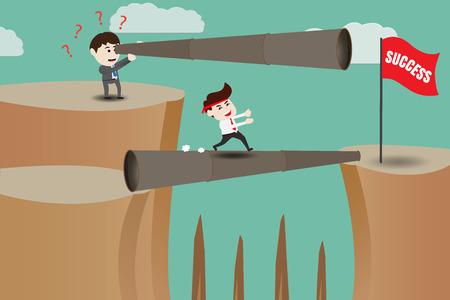 shortcuts: Vision, businessmen different ingenuity go to success Illustration