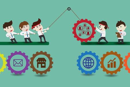 Components of teamwork leading to successful business Illustration