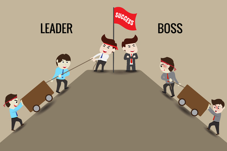 The difference between leader and boss Vettoriali
