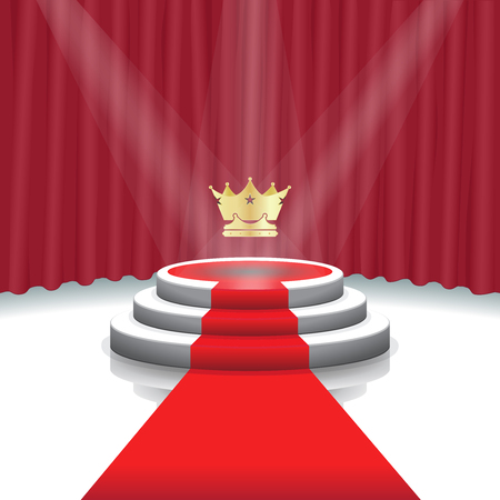 Design template: Illuminated stage podium with crown, red carpet and curtain background for award ceremony,  Vector illustration 矢量图像