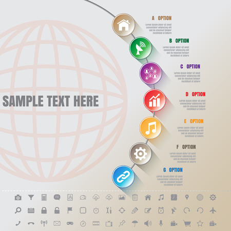 complement: Design template: Colorful Modern Infographic Complement Time Line Template and set of icons Illustration