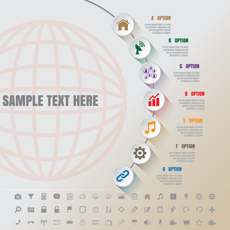outgrowth: Design template: White Modern Infographic Complement Time Line Template and set of icons