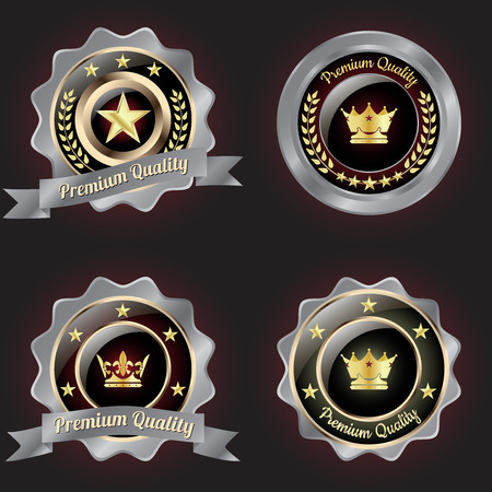 distinctive: Set of Golden-Silver Premium Quality badge with stars design