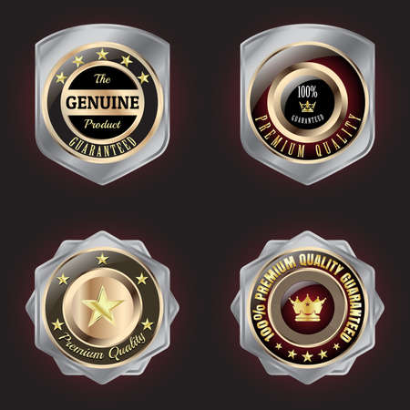 silver medal: Set of Golden-Silver Premium Quality badge with stars design
