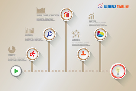 design process: Design template: Creative business timeline, Illustration