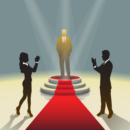 business event: Design template: Illuminated stage podium with businessman and red carpet, illustration