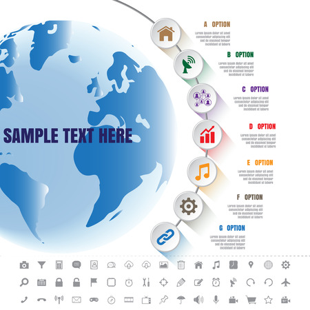 Design template: White Modern Infographic Complement Time Line Template and set of icons
