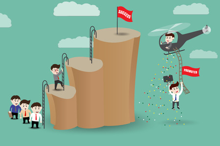 Shortcut - employees get promoted to success by helicopter, template