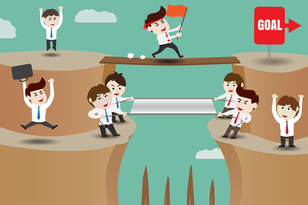 Teamwork, businessman helping protection to achieve the goal Illustration