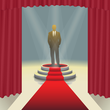 Design template: Illuminated stage podium with businessman and red carpet, Vector illustration