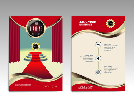 red carpet background: Vector brochure flyer design layout template, Front and back pages, infographics. Size A4.