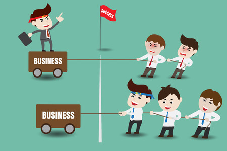 between: The difference between leader and boss, template Illustration