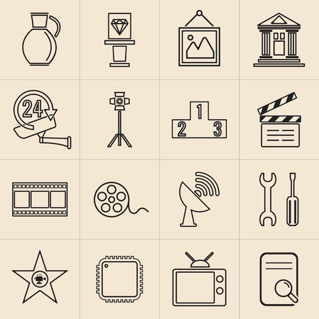 Exhibition line icons set-09 Ilustracja