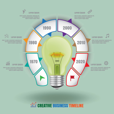 Design template: Lamp bulb Creative business timeline, Vector Illustration