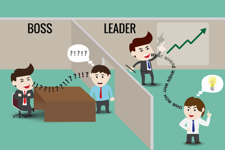 conjoin: The difference between leader and boss, template Illustration
