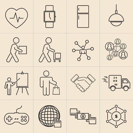 Exhibition line icons set-11
