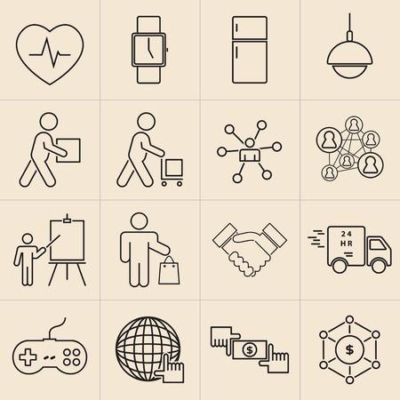 Exhibition line icons set-11