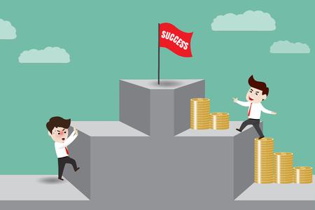 give money: Businessman give money led to success, vector illustration Illustration