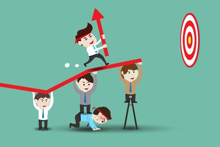 Teamwork leading to successful business, template 일러스트
