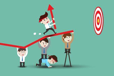 El trabajo en equipo que lleva a negocio exitoso, plantilla