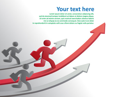 progressive: Design template, Running businessman on growth of progressive business, vector illustration