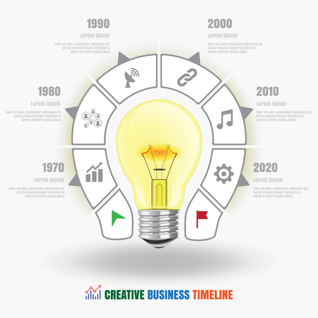design visionary: Design template: Lamp bulb Creative business timeline, Vector Illustration
