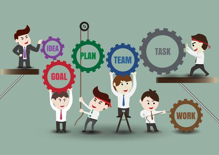 Components of teamwork leading to successful business, template