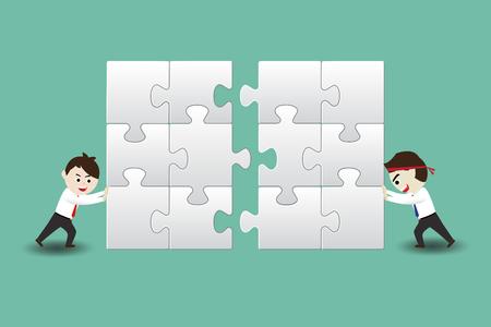concur: Teamwork, business men assembling pieces of a puzzle
