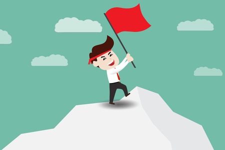 Businessman holding red flag on mountain peak. Business concept cartoon illustration