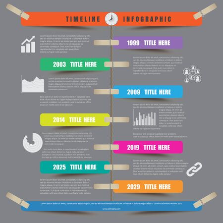clothespin: Timeline Infographic report template hanging on a rope with clothespin