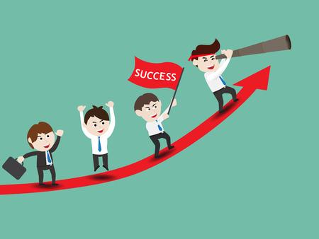 Businessman on growth of progressive business Illustration