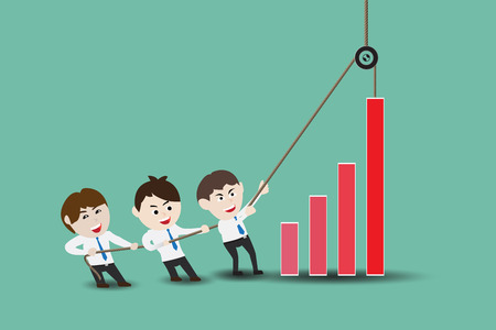 Teamwork leading to accelerate business growth, flat design illustration business concept Illustration