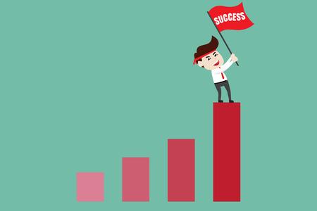 Businessman holding red flag on bar chart peak. Business concept cartoon illustration