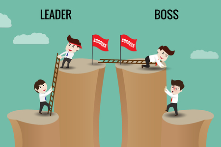 The difference between leader and boss Illustration