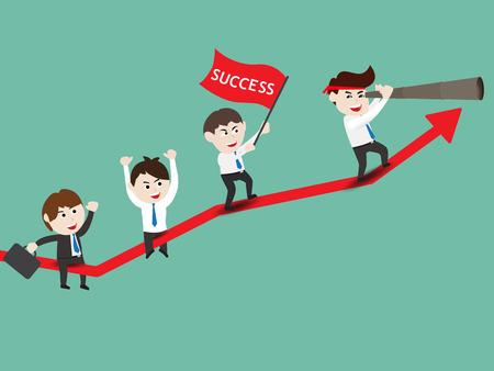 Businessman on growth of progressive business, vector illustration Illustration