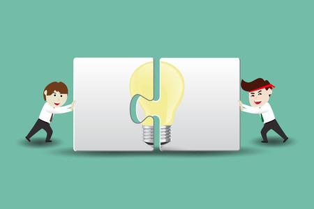 assembling: Teamwork creative ideas, businessman assembling pieces of a puzzle