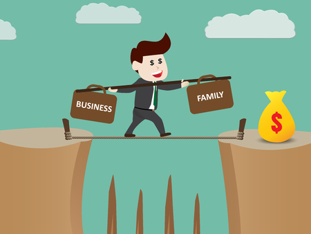 Businessman walks tightrope to make money, vector illustration