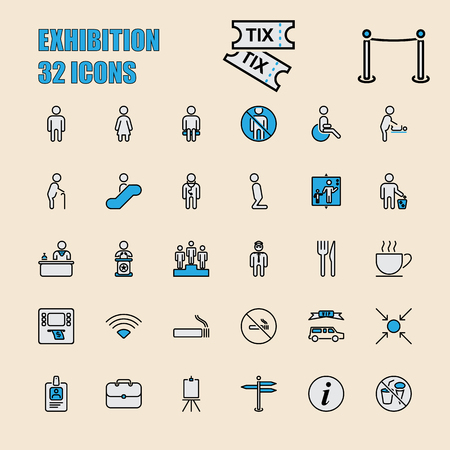 Set of 32 perfect icons for exhibition and business technology. Vector illustration. Illustration