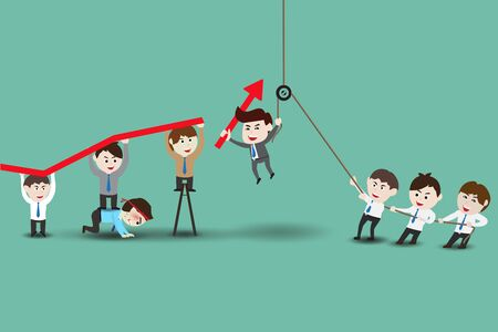 Teamwork leading to successful business, template Illustration