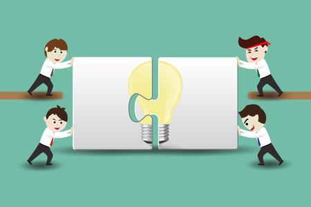 Teamwork creative ideas, businessman assembling pieces of a puzzle