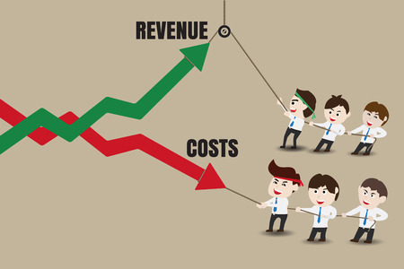 growth: Revenue and Costs, Businessman accelerate business growth