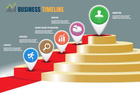 Ontwerpsjabloon, vijf trap strategie stappen Zakelijke tijdlijn, vectorillustratie Stock Illustratie