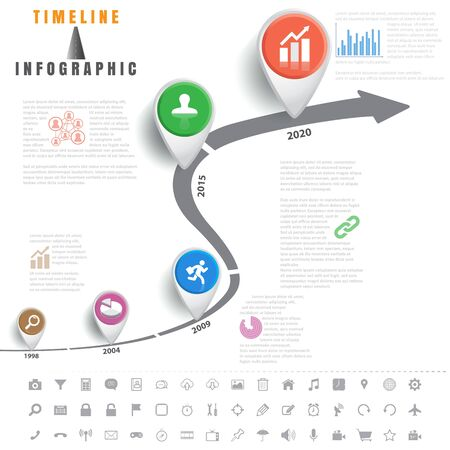 Design template, Timeline infographics traffic signs with elements and set of icons, Vector illustration